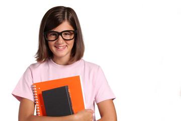 studentessa adolescente con occhiali