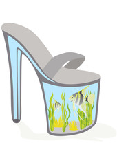 Shoes - an aquarium with fish