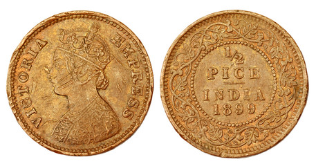 Old Indian coin of colonial regime
