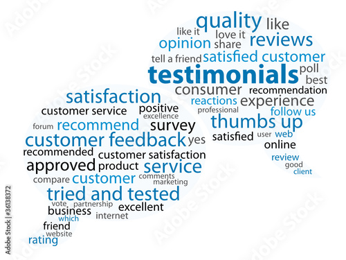 TESTIMONIALS Tag Cloud (customer satisfaction recommend)