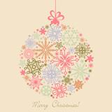 Retro Christmas ball made of snowflakes, boho colors poster