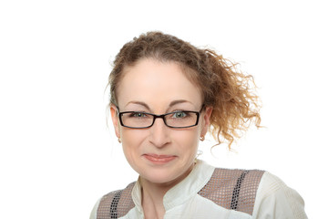 young curly woman in glasses with funny surprised look