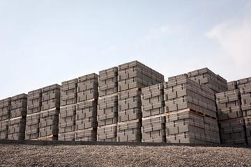 Pallets of concrete blocks