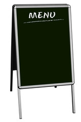 sandwich board with blank menu