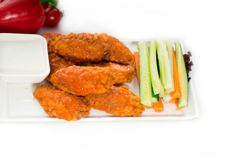 buffalo chicken wings served with pinzimonio