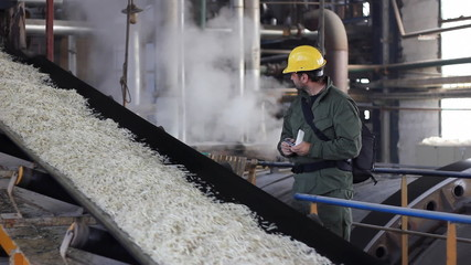Worker in sugar factory