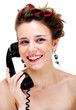 Happy smiling young female on phone isolated