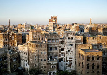 sanaa old town sunset city view yemen traditional architecture