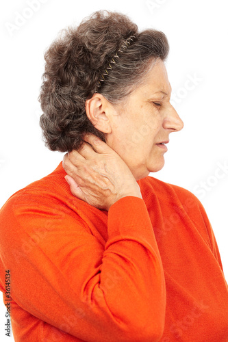 Leinwanddruck Bild Senior woman with neck pain
