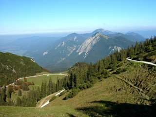 Wanderwege am Fahrenberg beim Walchensee mit Bergpanorama