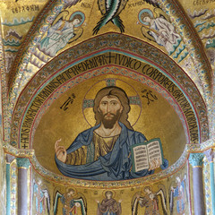 The Christ Pantokrator. Cathedral-Basilica of Cefalu, is a Roman