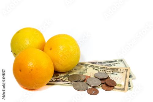 oranges with money