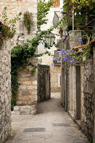 Fototapeta Ulica starego miasta Budva, Czarnogóra