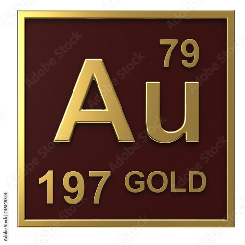 """""""Element of the periodic table gold isolated on white ..."""