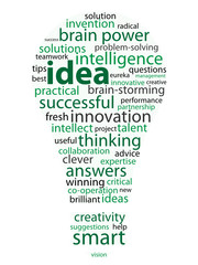 IDEAS Tag Cloud (light bulb answers solutions eureka innovation)