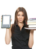 Woman compare books and new wireless ebook poster