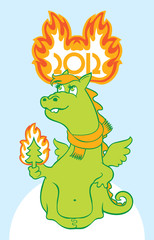 Christmas card with a dragon