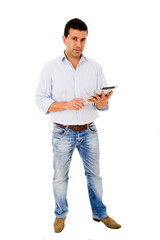 Young man with a tablet computer against white background