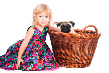 little girl embracing dog in the bucket isolated on white