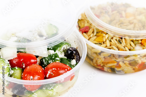 Fotobehang Salade Prepared salads in takeout containers