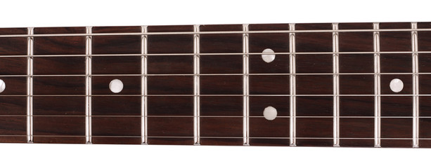 Image of guitar fingerboard isolated on white