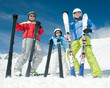 Ski, snow, sun and fun - happy family ski team