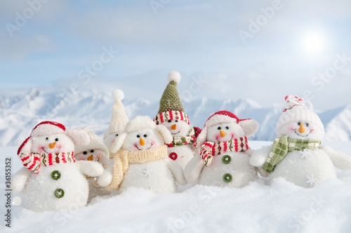 merry christmas - portrait of winter friends in mountains - 36155352