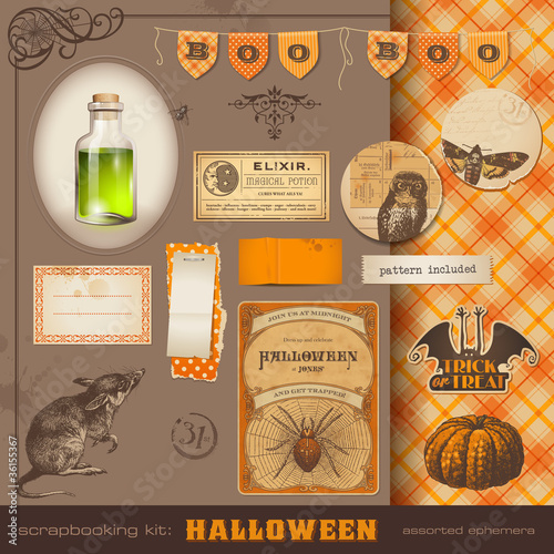 scrapbooking kit: Halloween design elements