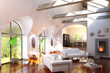 Loft designed with a fireplace
