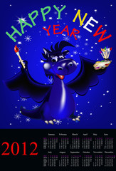 Dark blue dragon-New Year's a symbol of 2012.2012 Calendar