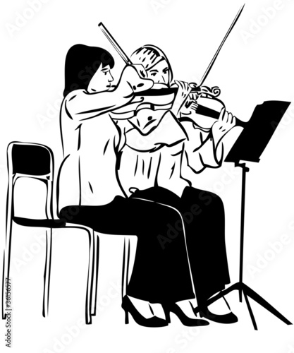 a Sketch of two girls playing on the fiddle
