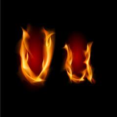 Fiery font. Letter U