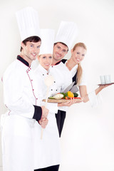 Smiling restaurant staff