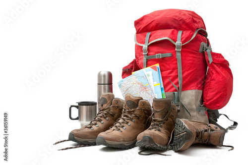 Tuinposter Kamperen hiking equipment. Concept for family hiking
