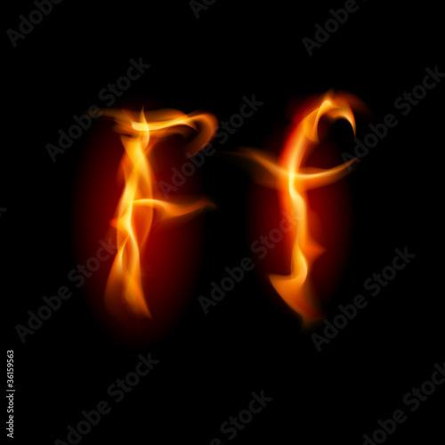 Fiery font Letter F