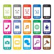 カラフルなスマートフォンアイコン