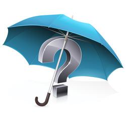 Point d'interrogation sous un parapluie bleu (reflet)