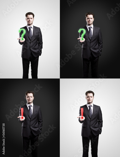 Set of mans with a question and exclamation marks