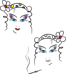 Beauty women face. Vector illustration