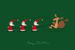 Rentier lenkt die Weihnachtsmänner