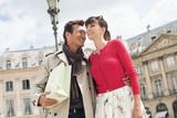 Couple on a street, Paris, Ile-de-France, France