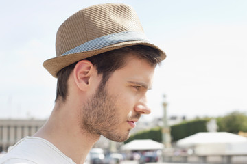Close-up of a man wearing a hat, Paris, Ile-de-France, France