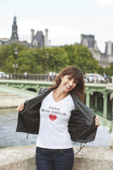 Woman enjoying at the riverside, Seine River, Paris, Ile-de-France, France
