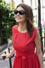 Close-up of a woman smiling, Montmartre, Paris, Ile-de-France, France