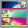 Set of vector banners and headers with abstract shining forms