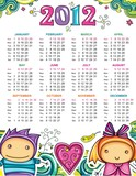 Calendar for 2012 with flowers and children