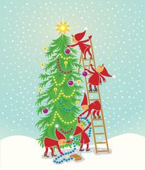 Christmas tree with elfs
