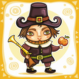 Thanksgiving happy cartoon pilgrim man with blunderbuss.