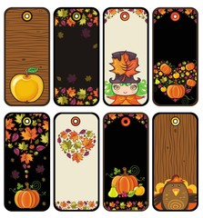 Thanksgiving set of tags in brown colors: