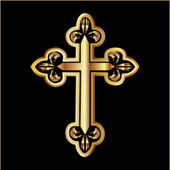 Gold christianity cross vector